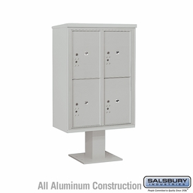Salsbury 3412D-4PGRY 4C Pedestal Mailboxes 4 Parcel Lockers