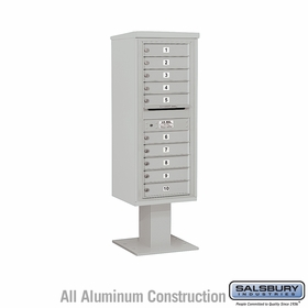 Salsbury 3412S-10GRY 4C Pedestal Mailboxes 10 Tenant Doors