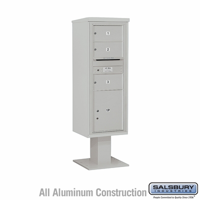 Salsbury 3413S-03GRY 4C Pedestal Mailboxes 3 Tenant Doors