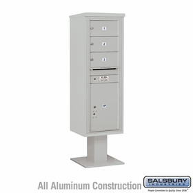Salsbury 3414S-03GRY 4C Pedestal Mailboxes 3 Tenant Doors