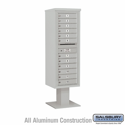 Salsbury 3414S-12GRY 4C Pedestal Mailboxes 12 Tenant Doors