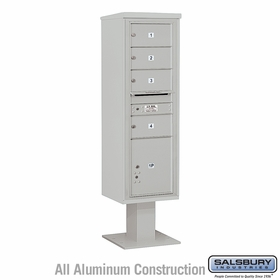 Salsbury 3415S-04GRY 4C Pedestal Mailboxes 4 Tenant Doors