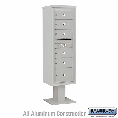 Salsbury 3415S-06GRY 4C Pedestal Mailboxes 6 Tenant Doors