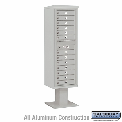 Salsbury 3415S-13GRY 4C Pedestal Mailboxes 13 Tenant Doors