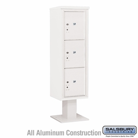 Salsbury 3415S-3PWHT 4C Pedestal Mailboxes 3 Parcel Lockers