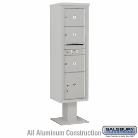 Salsbury 3416S-03GRY 4C Pedestal Mailboxes 3 Tenant Doors