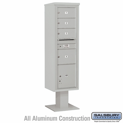 Salsbury 3416S-04GRY 4C Pedestal Mailboxes 4 Tenant Doors