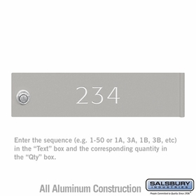 Salsbury 3468GRY Gray 4C Mailbox Locker Door Engraving