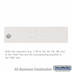Salsbury 3468WHT 4C Mailbox Locker Door Engraving