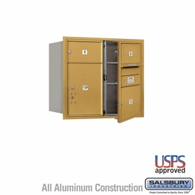 Salsbury 3707D-03GFU 4C Mailboxes 3 Tenant Doors Front Loading