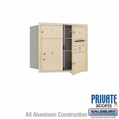 Salsbury 3707D-03SFP 4C Mailboxes 3 Tenant Doors Front Loading