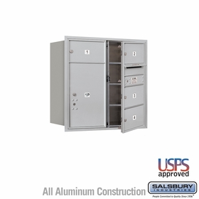 Salsbury 3708D-04AFU 4C Mailboxes 4 Tenant Doors Front Loading
