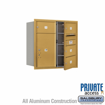 Salsbury 3708D-04GFP 4C Mailboxes 4 Tenant Doors Front Loading