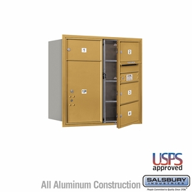 Salsbury 3708D-04GFU 4C Mailboxes 4 Tenant Doors Front Loading
