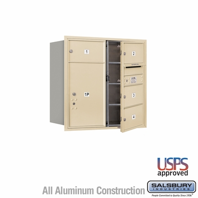 Salsbury 3708D-04SFU 4C Mailboxes 4 Tenant Doors Front Loading