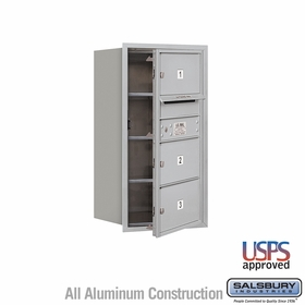 Salsbury 3708S-03AFU 4C Mailboxes 3 Tenant Doors Front Loading