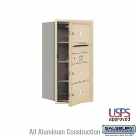 Salsbury 3708S-03SFU 4C Mailboxes 3 Tenant Doors Front Loading