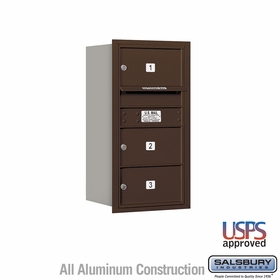 Salsbury 3708S-03ZRU 4C Mailboxes 3 Tenant Doors Rear Loading