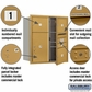 Salsbury 3709D-04GFP 4C Mailboxes 4 Tenant Doors Front Loading
