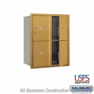 Salsbury 3710D-4PGFU 4C Mailboxes 4 Parcel Lockers Front Loading