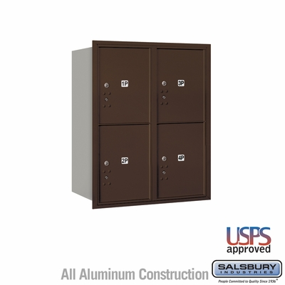 Salsbury 3710D-4PZRU 4C Mailboxes 4 Parcel Lockers Rear Loading