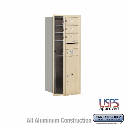 Salsbury 3710S-03SFU 4C Mailboxes 3 Tenant Doors Front Loading