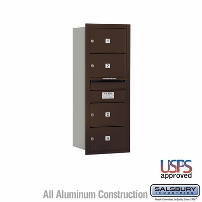 Salsbury 3710S-04ZRU 4C Mailboxes 4 Tenant Doors Rear Loading
