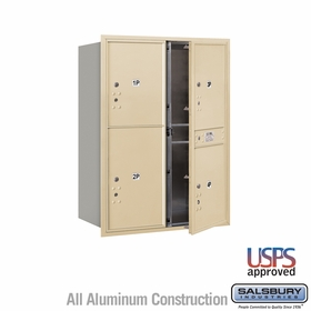 Salsbury 3711D-4PSFU 4C Mailboxes 4 Parcel Lockers Front Loading