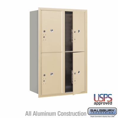 Salsbury 3712D-4PSFU 4C Mailboxes 4 Parcel Lockers Front Loading