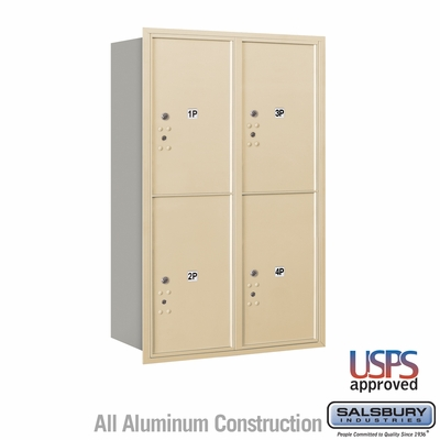 Salsbury 3712D-4PSRU 4C Mailboxes 4 Parcel Lockers Rear Loading