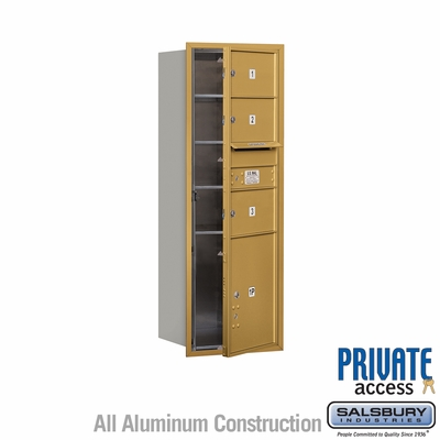 Salsbury 3713S-03GFP 4C Mailboxes 3 Tenant Doors Front Loading