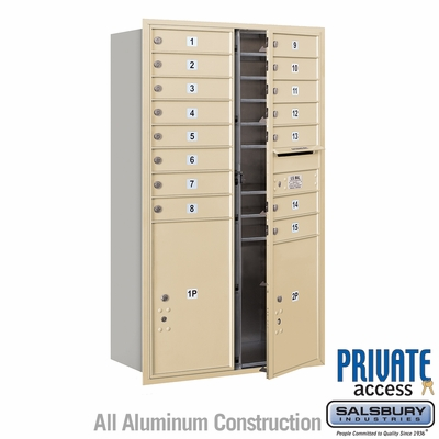 Salsbury 3714D-15SFP 4C Mailboxes 15 Tenant Doors Front Loading