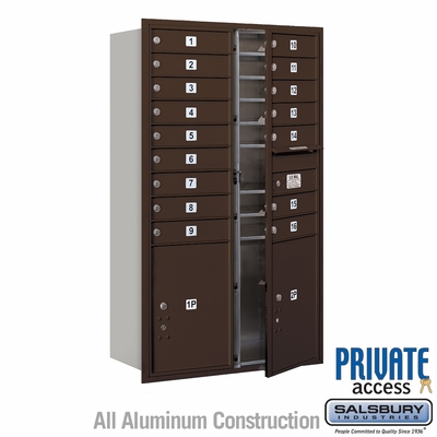 Salsbury 3714D-16ZFP 4C Mailboxes 16 Tenant Doors Front Loading