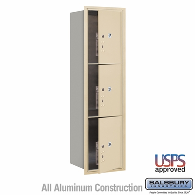 Salsbury 3715S-3PSFU 4C Mailboxes 3 Parcel Lockers Front Loading