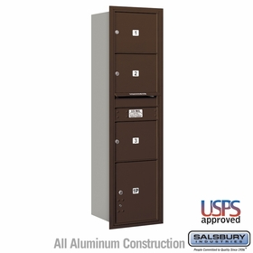 Salsbury 3716S-03ZRU 4C Mailboxes 3 Tenant Doors Rear Loading
