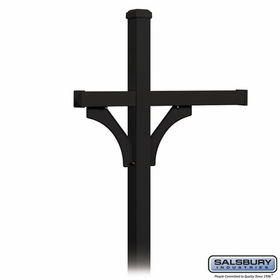 Salsbury 4373BLK Deluxe Post - 2 Sided - In-Ground - for (3) Roadside Mailboxes - Black