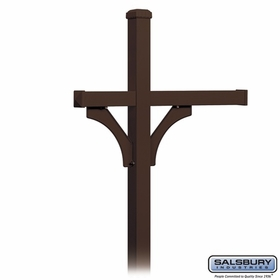 Salsbury 4373D-BRZ Deluxe In-Ground Post for (3) Designer Roadside Mailboxes - Bronze