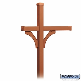 Salsbury 4373D-COP Deluxe In-Ground Post for (3) Designer Roadside Mailboxes - Copper