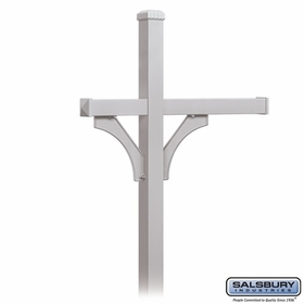 Salsbury 4373SLV Deluxe Post - 2 Sided - In-Ground - for (3) Roadside Mailboxes - Silver