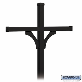 Salsbury 4374BLK Deluxe Post - 2 Sided - In-Ground - for (4) Roadside Mailboxes - Black