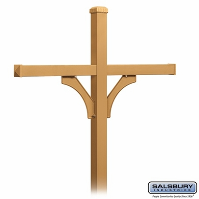 Salsbury 4374D-BRS Deluxe In-Ground Post for (4) Designer Roadside Mailboxes - Brass