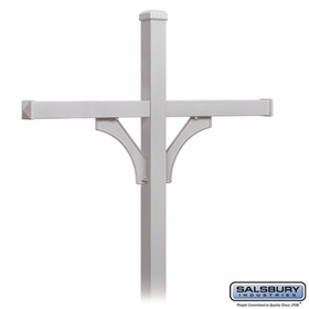 Salsbury 4374SLV Deluxe Post - 2 Sided - In-Ground - for (4) Roadside Mailboxes - Silver