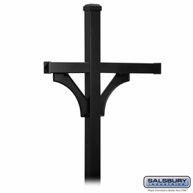 Salsbury 4873BLK Deluxe Mailbox Post - 2 Sided for (3) Mailboxes - In-Ground - Black