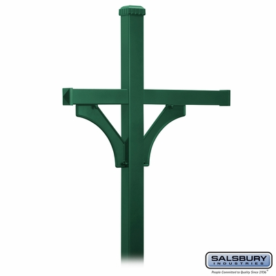 Salsbury 4873GRN Deluxe Mailbox Post - 2 Sided for (3) Mailboxes - In-Ground - Green