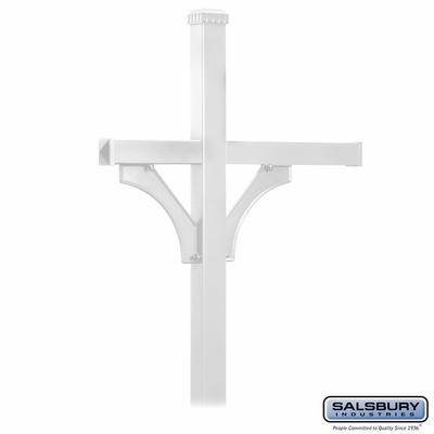 Salsbury 4873WHT Deluxe Mailbox Post - 2 Sided for (3) Mailboxes - In-Ground - White