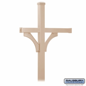 Salsbury 4873BGE Deluxe Mailbox Post - 2 Sided for (3) Mailboxes - In-Ground - Beige
