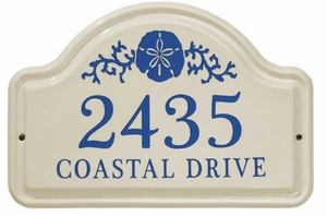 Whitehall Sand Dollar Ceramic Arch Standard Wall Plaque - Two Line - Dark Blue