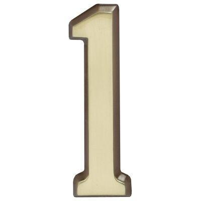 """Whitehall Satin Brass 4.75"""" House Address Numbers Number """"1"""""""