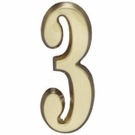 "Whitehall Satin Brass 5"" House Address Numbers Number ""3"""
