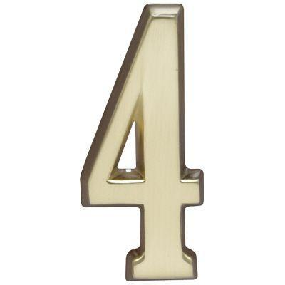 "Whitehall Satin Brass 5"" House Address Numbers Number ""4"""